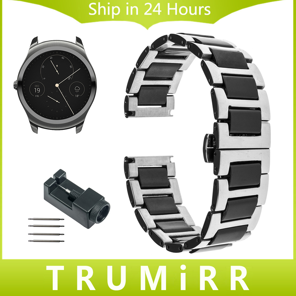 20mm 22mm Ceramic + Stainless Steel Watch Band for Ticwatch 1 46mm / Ticwatch 2 42mm Butterfly Buckle Wrist Strap Link Bracelet nylon watch band 22mm for ticwatch 1 46mm stainless steel pin buckle strap wrist belt bracelet black blue orange spring bar
