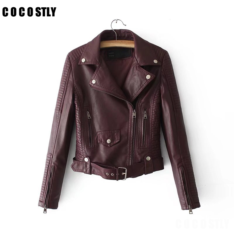 High Quality 2018   Leather   Jacket Women Jackets Coat Slim Biker Motorcycle Soft Zipper girl   Leather   Jaquetas De Couro feminina