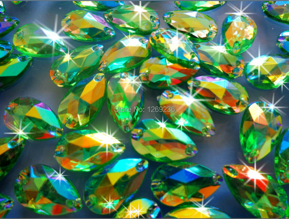 Promotion 150pcs 11*18mm drop shape Acrylic crystal Green AB Color Rhinestones Stones Accessores Sew on Loose Beads Strass m47