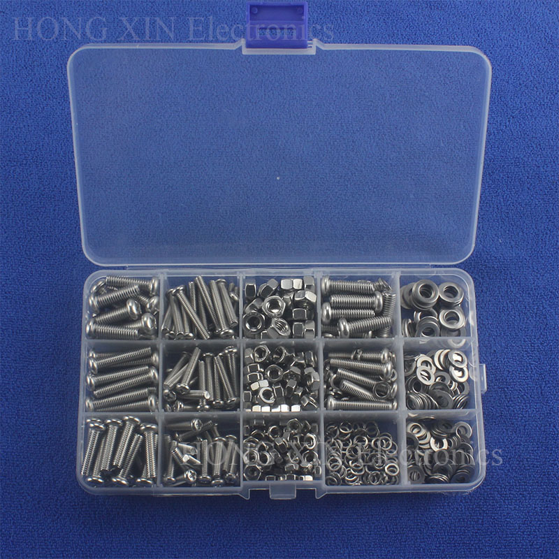 525pcs/set SS304 Stainless Steel Screw Button Head cross screw Phillips Screws Cross Recessed Round Pan Head M4/M5/M6 Nut Washer m5 316 stainless steel phillips pan head machine screw marine grade