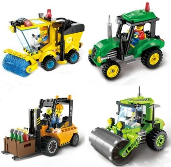 4 Type Civilized City Sweeper Legoings Assembled Model Building Blocks Toys Kit DIY Educational Children Birthday Gifts 102pcs