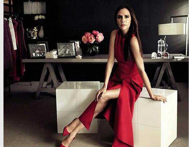 33b07246e34379 Victoria Beckham Dress D'été Femmes Bureau Dress Solide Couleur Noir/Rouge  Sans Manches Asymétrique Mi-mollet Robes OL Travail Dress