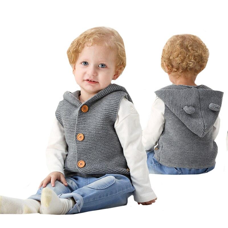 Coats Jackets Cardigans Newborn Baby-Boys Sleeveless Knitwear Hooded Girls Infant Cartoon