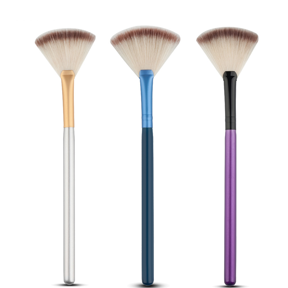 Mix Color Makeup Slim Fan Shape Powder Concealor Blending Finishing Highlighter Highlighting Contour Brush Cosmetic beauty tool slim fan shape powder concealor blending finishing pinceau fond de teint makeup brush nail art brush for makeup cosmetics tool