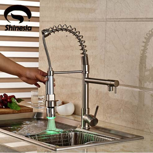 Brushed Nickel LED Spout Spring Kitchen Faucet Single Handle Hole Vessel Sink Mixer Tap Hot and Cold Water Deck Mount fapully chrome finish single spout kitchen sink faucet deck mount spring kitchen mixer tap kitchen hot and cold water tap
