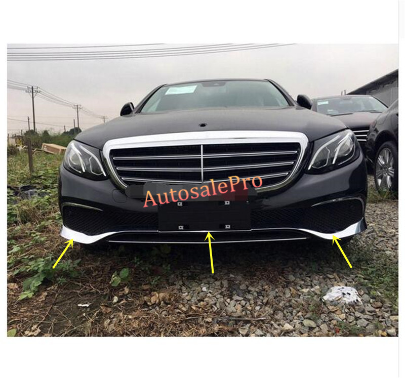 Chrome front grille lower bumper lip cover trim 3pcs for for Mercedes benz front bumper