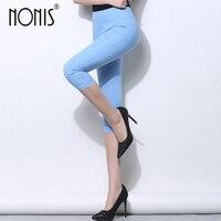Nonis Skinny Capri Leggings Pour Femmes 2017 D'été de Haute Taille Stretch Couleur De Sucrerie Femelle Crayon Pantalon Plus La Taille 3xl Femmes pantalon