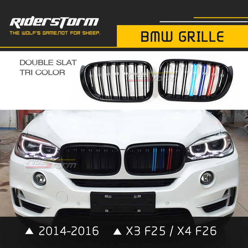 Double Slat Replacement X3 Grill X4 Grille F25 F26 Auto Front Kidney 2014-2016 Glossy Matte Black Tri Color M performance x3 f25 x4 f26 front bumper grills for bmw x3 x4 f25 f26 2014 present model kidney grille mesh