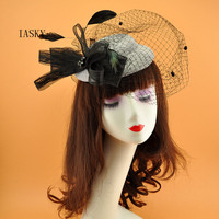 Black Veil Wedding Bride Hat Big Bow Feather Fascinator Sinamay Hat Headpiece Women Proms Dinner Party Elegant Ladies Headwear