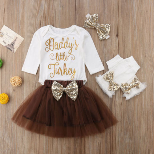 1e66c650050a Infant Baby Girls Thanksgiving Outfit Newborn Romper Tops + Tutu Skirt +  Leg Warmers Headband 4PCS Set-in Clothing Sets from Mother & Kids on  Aliexpress.com ...
