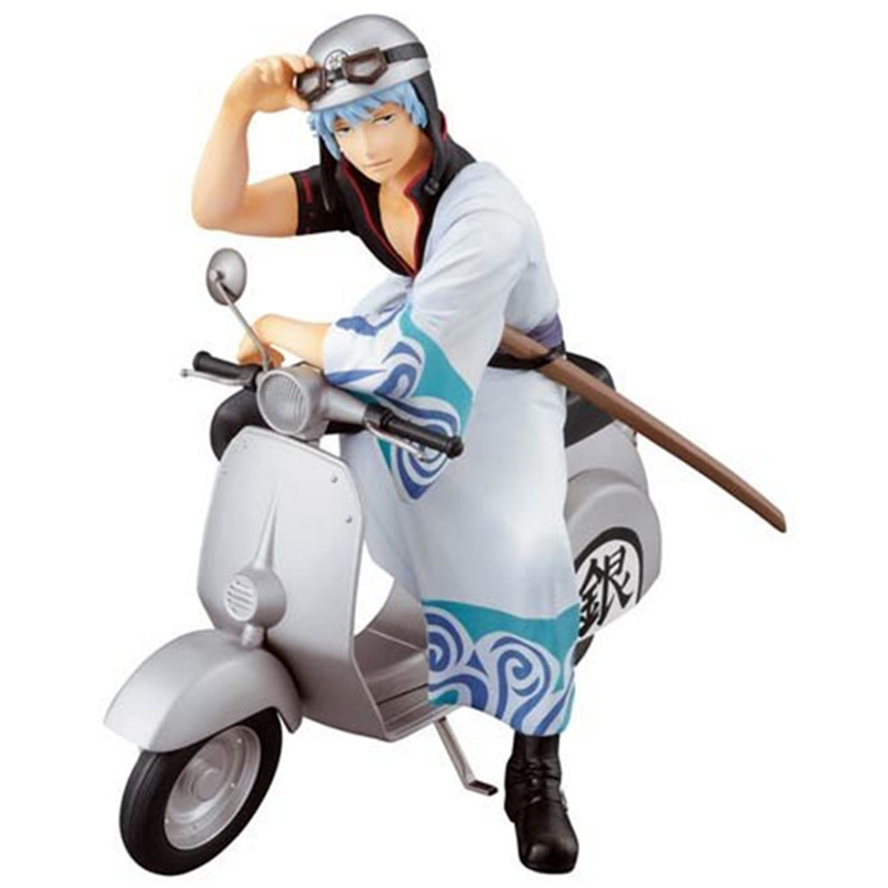 15cm Anime Figure Silver Soul Gin Tama Gintama Sakata Gintoki A Motorcycle Version Action Figure Toys for Collections 5pcs gintama figures sakata gintoki kamui shimura shinpachi takasugi shinsuke silver soul pvc figure phone strap pendant toys