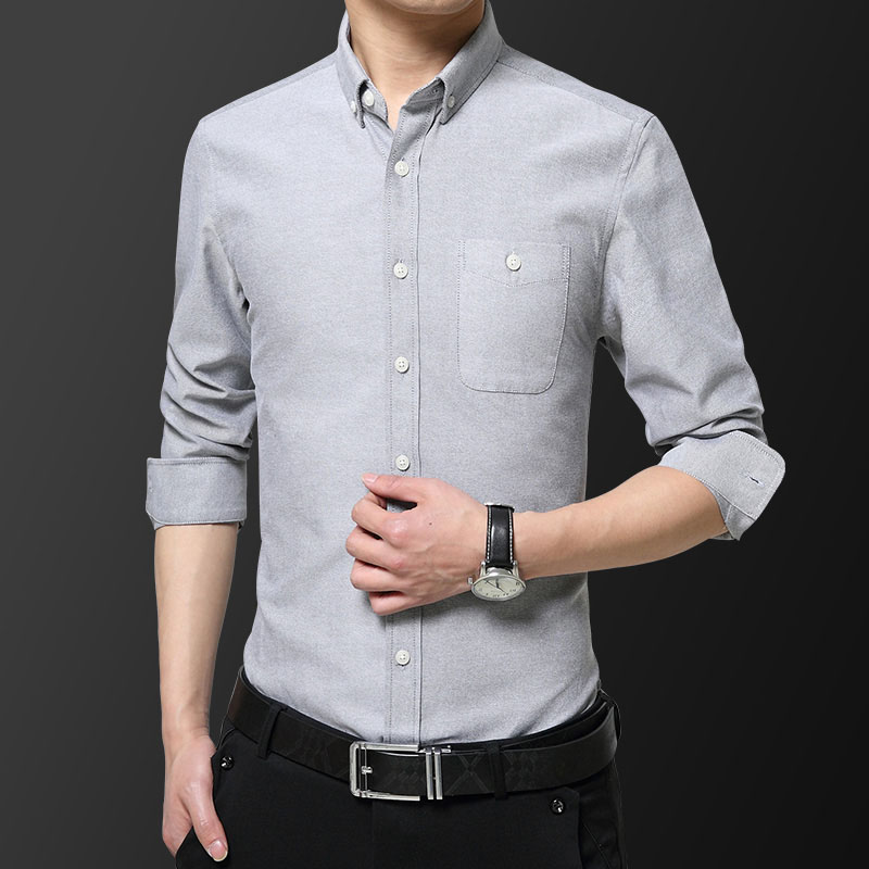 Men's Oxford Cloth Solid Basic Dress Shirt Formal Business Long Sleeve White Tops Shirts For Social Work Office Wear High Qualit
