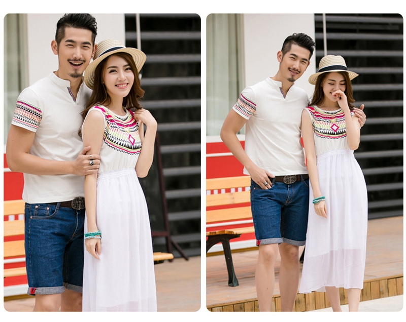 HTB1eGipfMvD8KJjSsplq6yIEFXai - Summer Family Matching Outfits Ethnic Style Mother Daughter Beach Dresses Father and Son White T-shirt Family Clothing Sets