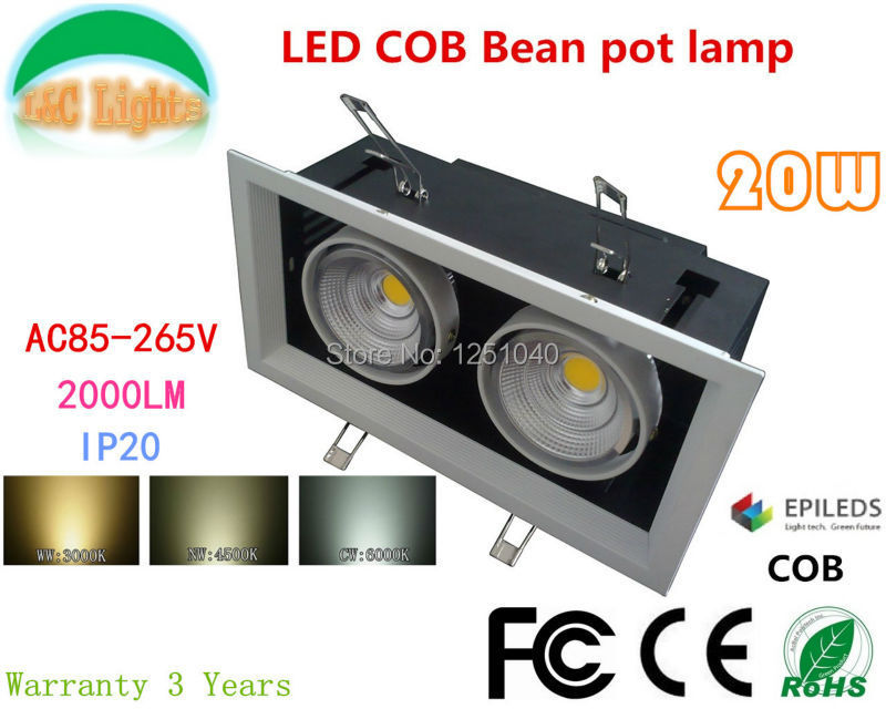 AR80 20W LED Bean Pot Light COB LED Grille Lamp Destacado LED Bean - Iluminación interior