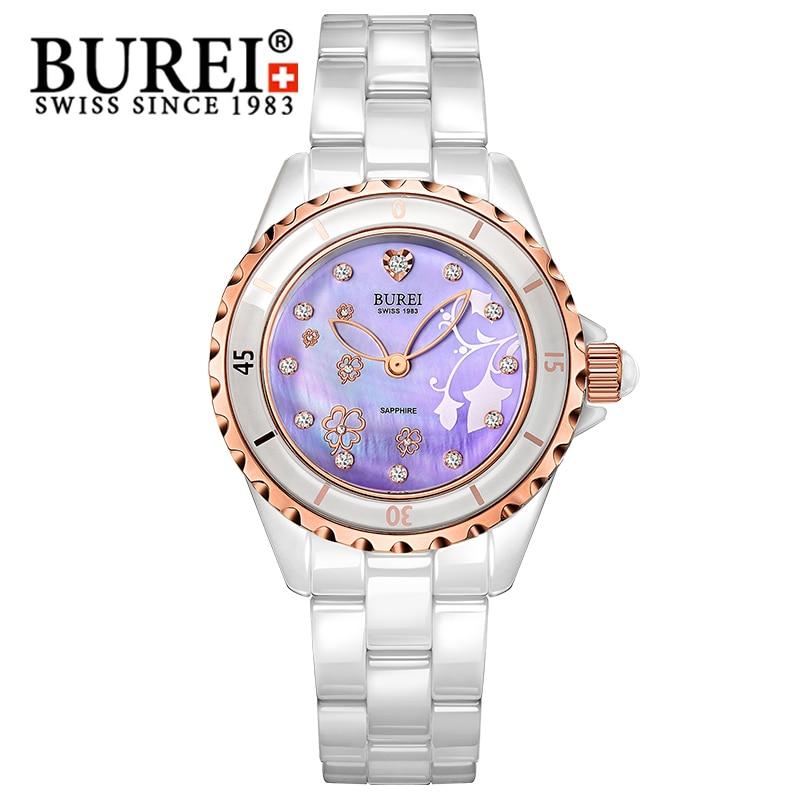 BUREI Fashion Women Watch Ceramic Band Clover Dial Rhinestone Waterproof Quartz Wristwatch Lady Dress Clock Relogio