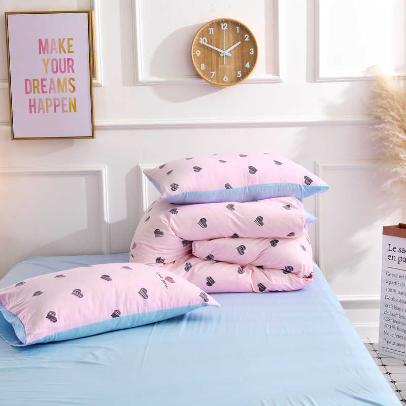 ParkShin 2019 New Love Pink Bedding Set Soft Duvet Cover Bedspread Pillowcase Single Double Queen King Size Bed Linens For Gift