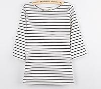 Slit Neckline Three Quarter Sleeve Stripe T Shirt Women S 100 Cotton Loose Plus Size Tops