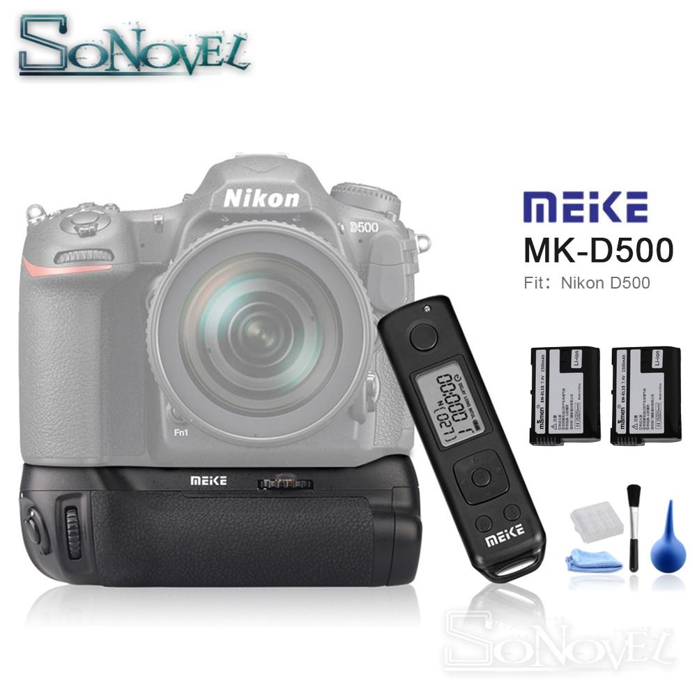 Meike MK-D500 Pro 2.4G Wireless Remote Control Vertical Battery Grip with 2x EN-EL15 Battery for Nikon D500 Camera as MB-D17 meike mk 760d pro built in 2 4g wireless control battery grip suit for canon 750d 760d as bg e18