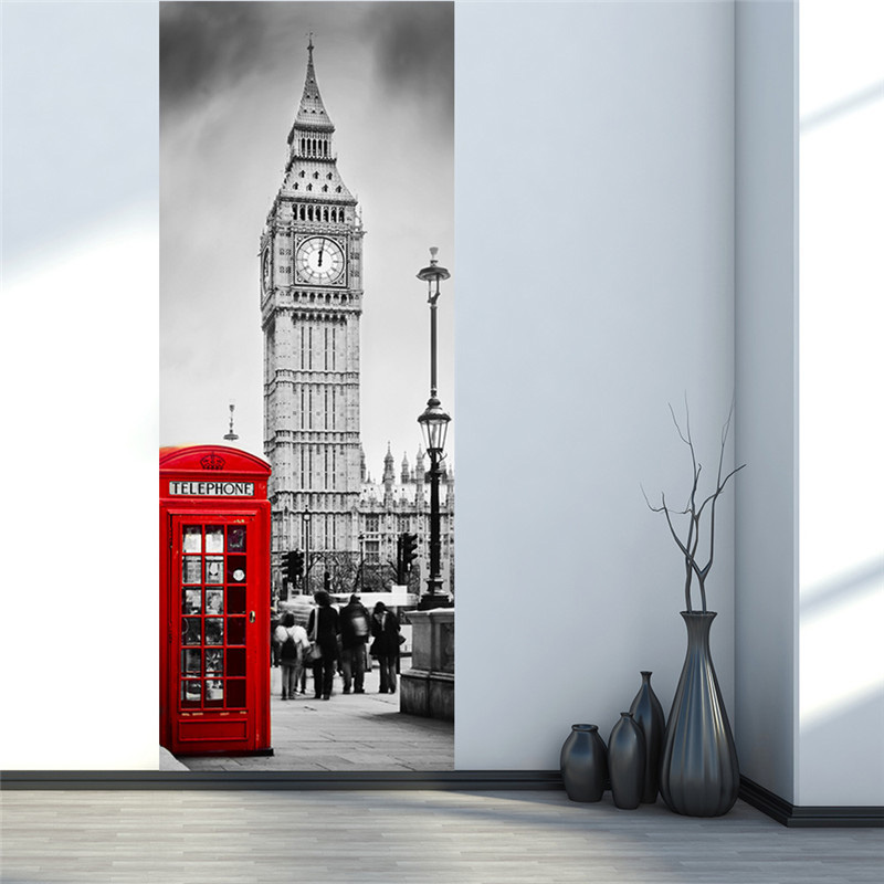 3D Door Wall Sticker Waterproof Mural Big Ben Phone Booth Wallpaper Poster DIY Home Decor Art Decals Hogard