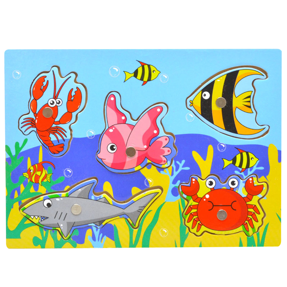 3D Jigsaw Puzzle Fishing Game Toy Baby Wooden Magnetic Puzzle Fishing Game Jigsaw Tangram Toy Educational Toys for Kids Gift