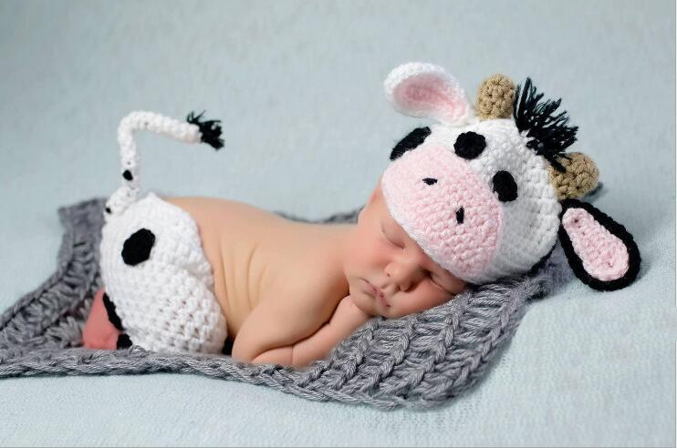 cows Set white Color Design Hat Handmade Cartoon Costume Knitted Crochet photography props Newborn photo baby Caps Hats +pants