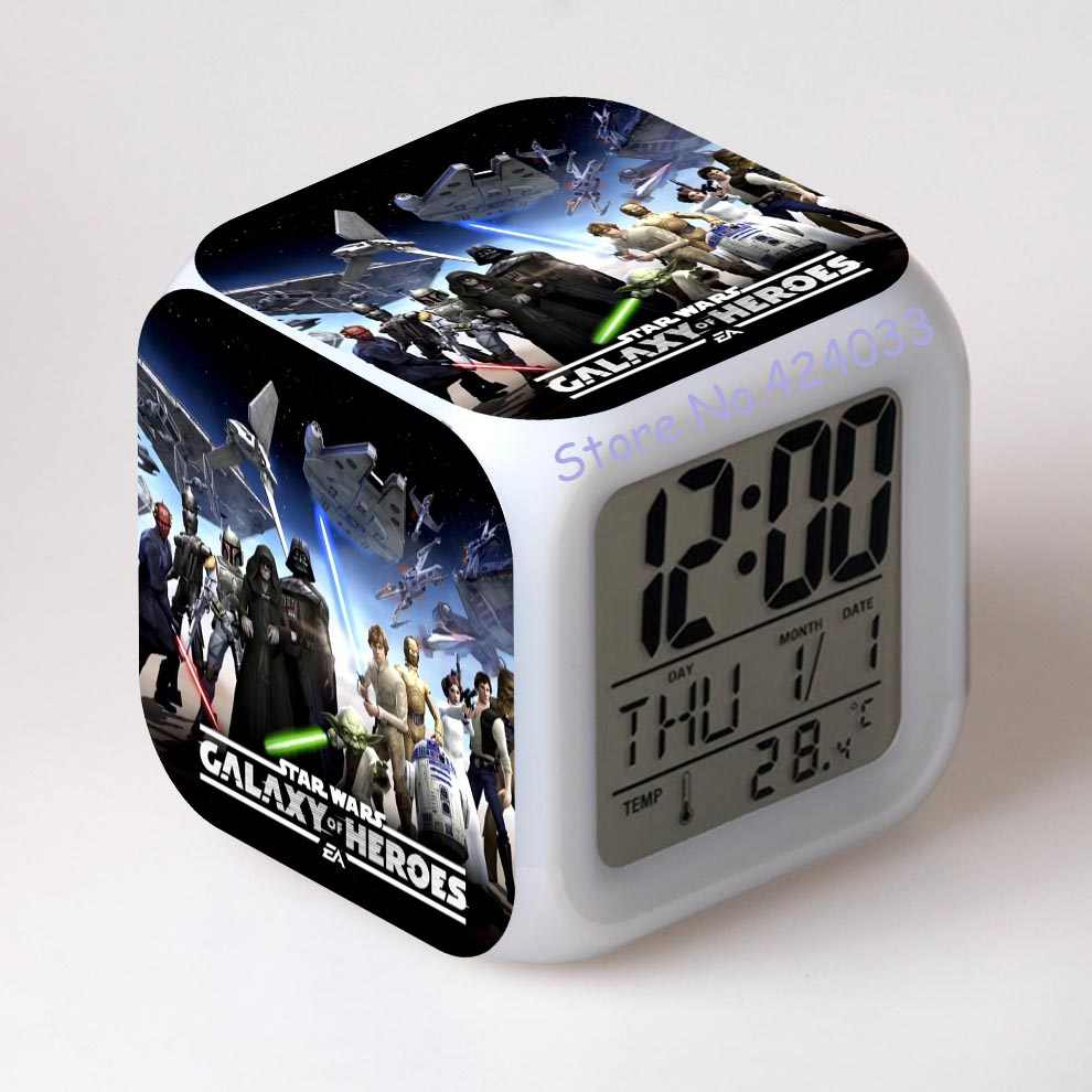 Star Wars Jam Alarm Digital Watch LED Warna Berubah Elektronik Meja LCD Display Despertador