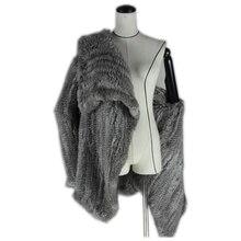 2017 New Brand Womens Winter rabbit fur Poncho Hot Sale 4 colors knitting real shawls pashmina