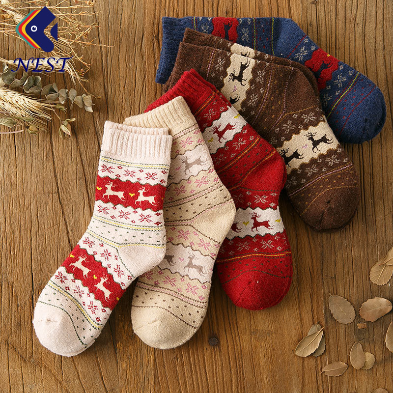 Nest Female 5 Pairs/Lot Autumn Winter Wool Cotton   Socks   Set Women Keep Warm Free Size Cute Cartoon   Socks   Short Christmas   Socks