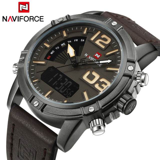 2017 Top Luxury Brand NAVIFORCE Men Sports Watches Waterproof Quartz Clock Male Fashion Leather Wrist watch Relogio Masculino watches men naviforce brand fashion men sports watches men s quartz hour date clock male stainless steel waterproof wrist watch