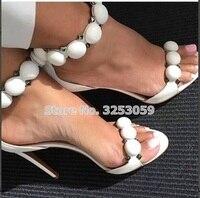 ALMUDENA Designer Shoes Women Summer Button Studded Sandals Pyramid Studs Embellished High Heels Pom Pom Stiletto Heels Pumps