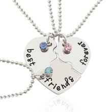 3 Pieces / Set Of Best Friends Forever Letter Pendant Commemorative Friendship 3 Color Rhinestone Silver Chain Necklace цена и фото