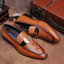 Fashion brown /black summer loafers mens dress shoes genuine leather causal business shoes breathable mens wedding shoes