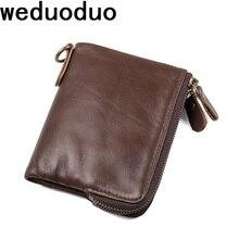 Weduoduo Vintage Genuine Leather Men Wallets  Fashion Short Card Wallet Multi Function Double Zipper Coin Purses