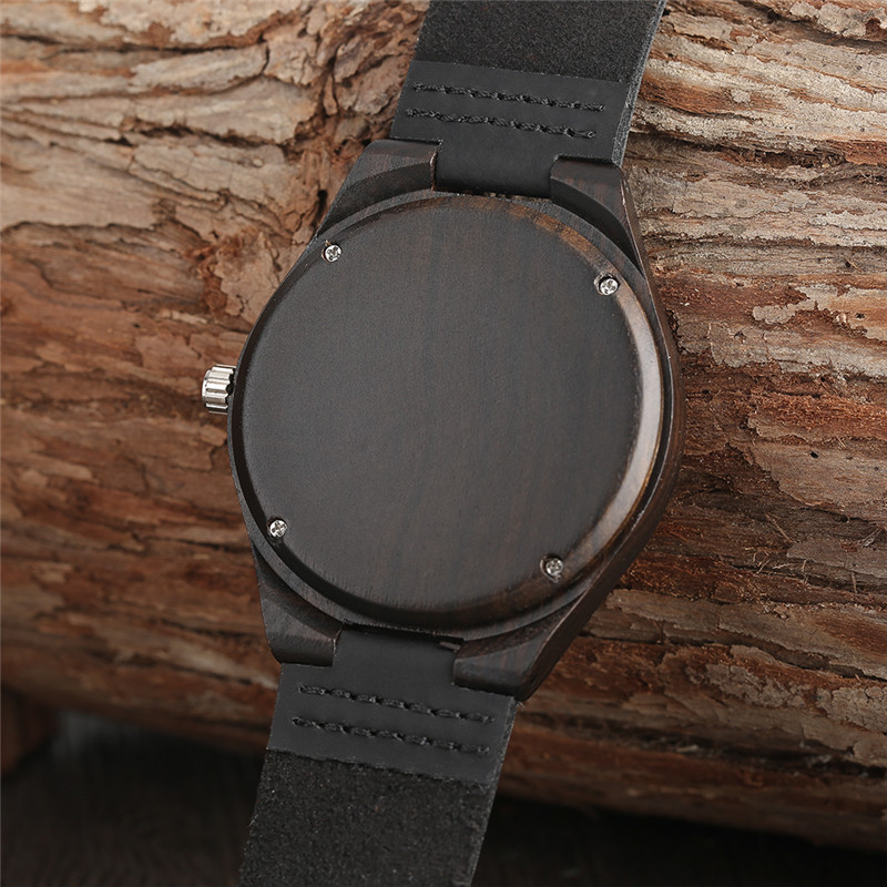 Sort Natural Ebony Wooden Watch Mænds Ægte Læder Creative - Mænds ure - Foto 5