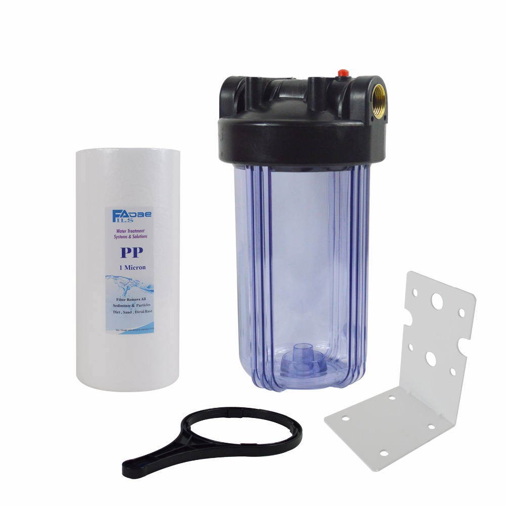 Transparent Whole house Water Filter 4-1/2x 10 PP Sediment filter 1micron/Mounting bracket/wrench,,remove the dirt,sand, silt high quality 10in transparent water filter housing include 2 1 2 x10in carbon block filter mounting bracekt wrench screw