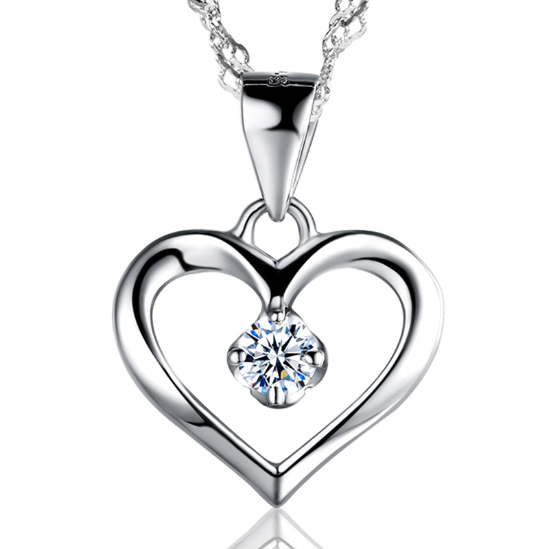 Elegant 925 Sterling Silver Cubic Zirconia CZ Hollow Heart Pendant Necklace Colllar Women Wedding Anniversary Jewelry tongzhe 2018 evil eye necklace 925 sterling silver cubic zirconia gold pendant necklace women new zealand jewelry collares