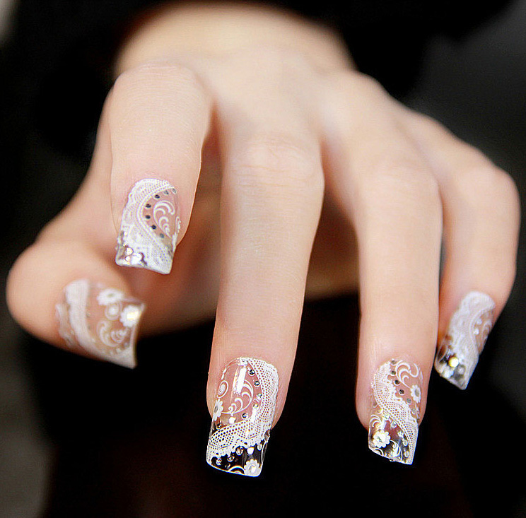 Black White 3D Lace Design Nail Art Manicure Tips Sticker Decal DIY ...