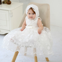 BBWOWLIN New Born Clothes Baby Girl Extended Baptism Christening Dress White Sleeveless Christmas Party Baby Dresses Girl 021