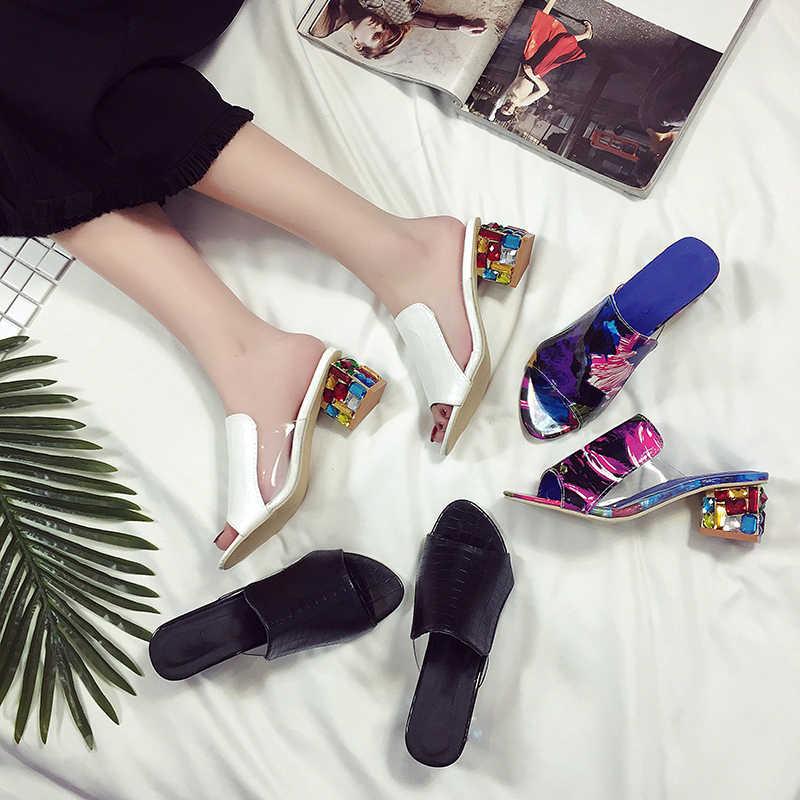 2020 מותג בתוספת גודל נעלי נשים סנדלי צבעוני ריינסטון גבוהה עקבים נעלי ציוץ הבוהן גבירותיי נעלי פלטפורמת סנדלים