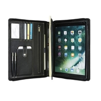 iLooker Genuine Leather Portfolio for iPad Case with Notepad Holder, Professional Business Organizer Padfolio Case