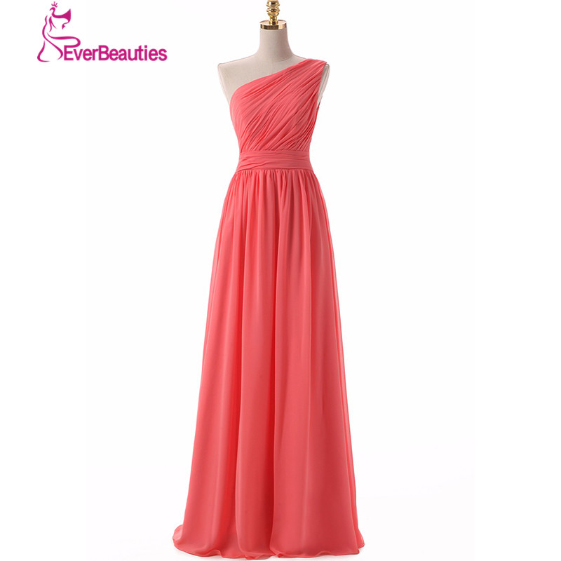 Bridesmaid     Dresses   Long 2019 One Shoulder Chiffon Simple Design Cheap   Dresses   Vestido Para Madrinha Wedding Party   Dress