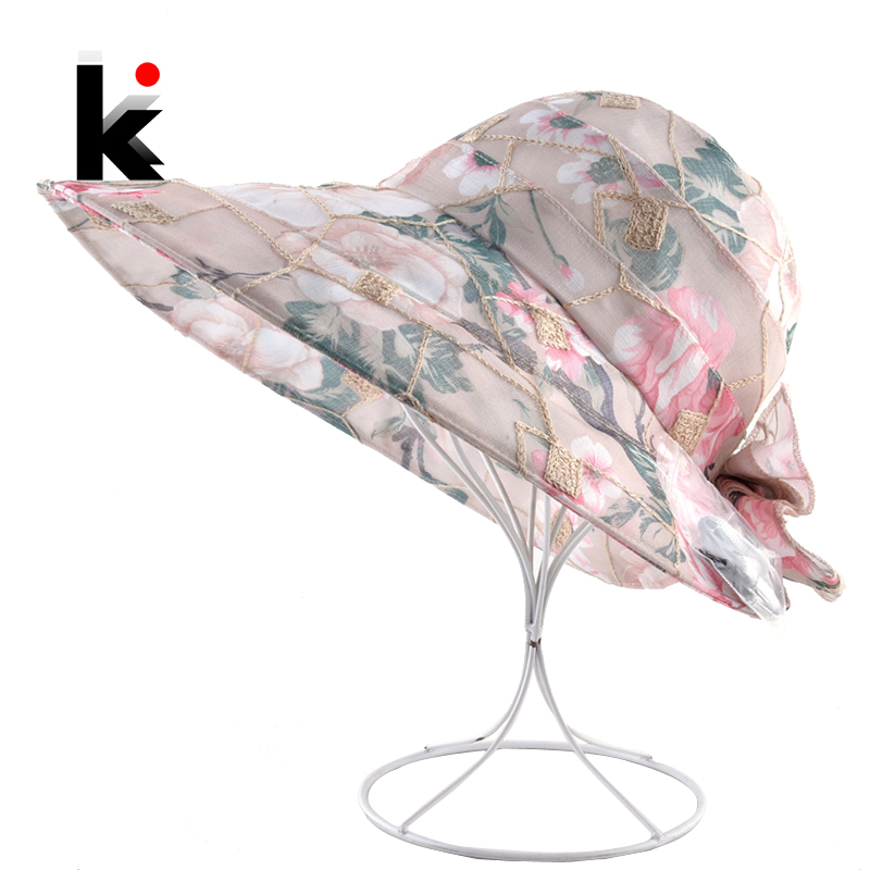 Summer Hats For Women Bow-knot Beach Wide Brim Caps Floppy Bob Sun Cap Ladies Flower Lace Visor Hat Outdoor Casual Bucket Hat