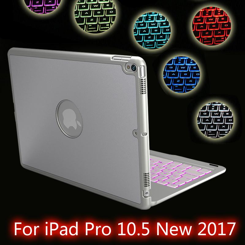 High-Quality 7 Colors Backlit Light Wireless Bluetooth Keyboard Case Cover For iPad Pro 10.5 New 2017 + Film + Stylus