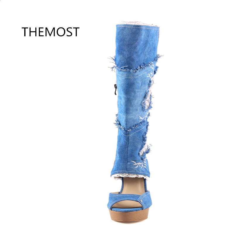 THEMOST 2018 spring and summer new fashion Europe and the United States Sexy fish mouth Denim boots Waterproof platform in the summer of 2016 the new wedge heels with fish in square mouth denim fashion sexy female cool shoes nightclubs