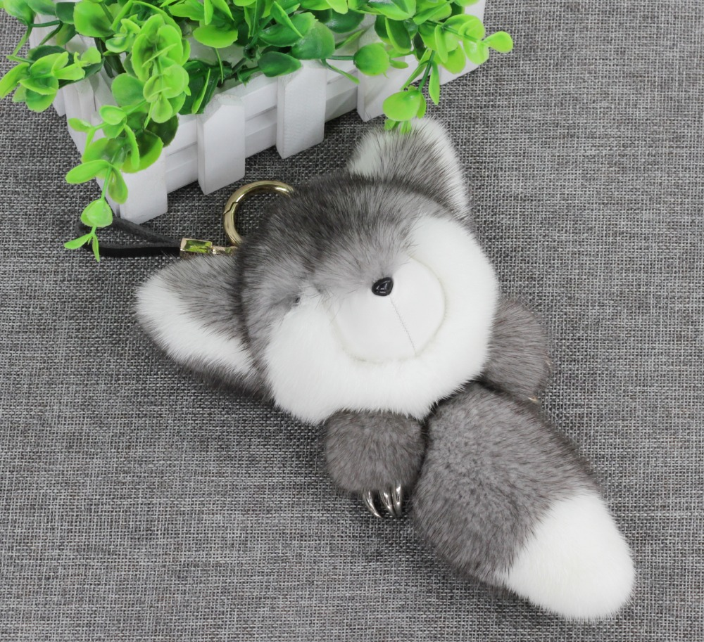 Real Mink Fur Monster Pom Fox Doll Keyring Keychain Bag Car Charm Pendant Grey cute fox bobbles fur ball rhinestone keychain bag car ring keyring