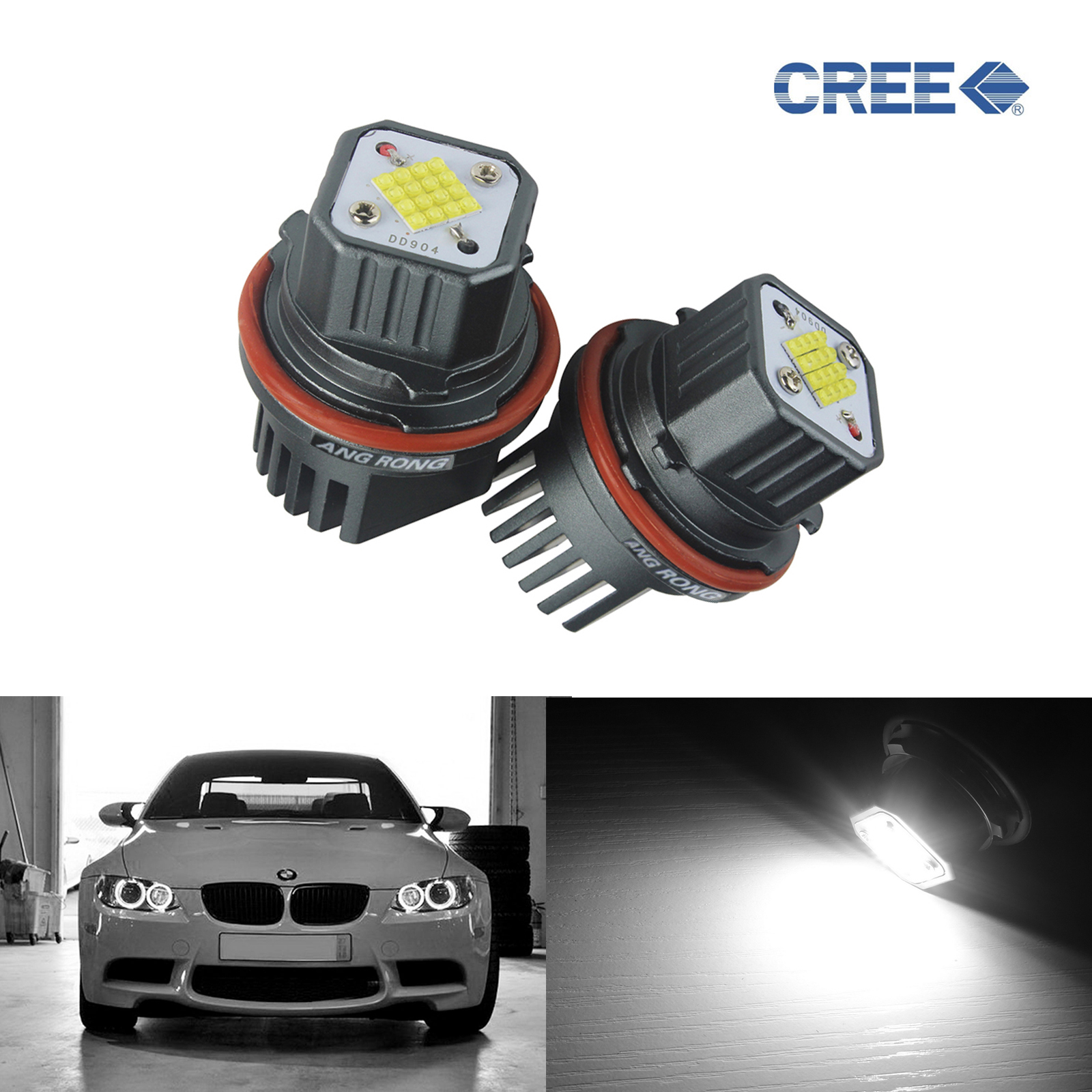 ANGRONG 2x Updated 80W C.ree LED Marker For BMW Angel Eyes Light E39 E87 E60 E61 E63/E64 E65/E66 X3 X5 2x e39 e60 e61 e87 e53 e63 e65 e83 x3 led angel eye halo light bulb 90w 00 03 5 series e39 m5 ca291