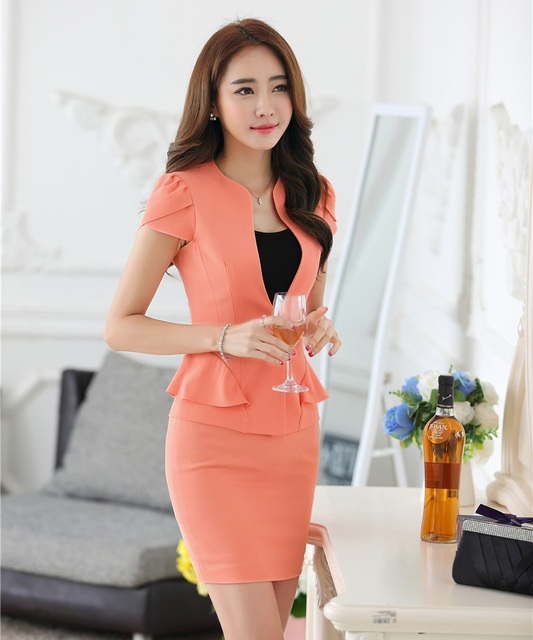 c865e4d2039e Summer Formal Blazer Women Skirt Suits Jacket Sets Ladies Business Suits  Work Wear Office Uniform Style