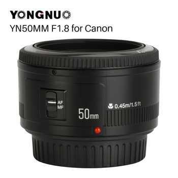 YONGNUO YN50mm YN50 F1.8 EF EOS 50MM AF objectif de caméra MF pour Canon rebelle T6 EOS 700D 750D 800D 5D Mark II IV 10D 1300D