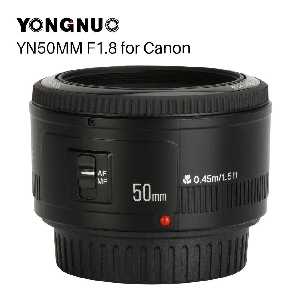 Yongnuo yn50mm yn50 f1.8 ef eos 50mm af mf lente da câmera para canon rebel t6 eos 700d 750d 800d 5d mark ii iv 10d 1300d