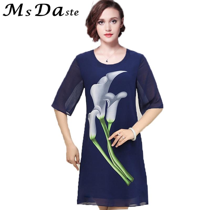 2016 New Summer Short Sleeve Women Chiffon Dresses Plus Size 3xxxl